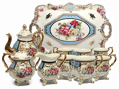 - Euro Porcelain 12-piece Vintage Tea or Coffee Cup Set w/ Tray, 24 Kt Gold Plated Rose Floral Pattern, Hand Painted Service for 6 Luxury Bone China Tableware