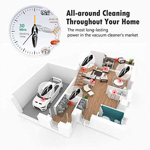 Handheld Vacuum Cleaner, WELIKERA Vacuum Cleaner Cordless 7000PA Powerful Suction Lightweight Wet Dry Vacuum Cleaner Portable Household Vacuum Cleaner with Stainless Steel HEPA Suit for Home Car
