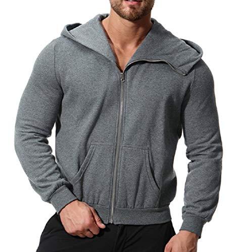 Coat Mens Fleece with Dark XINHEO Solid Grey Colored Zips Jacket Casual with Hood 6qRz1S