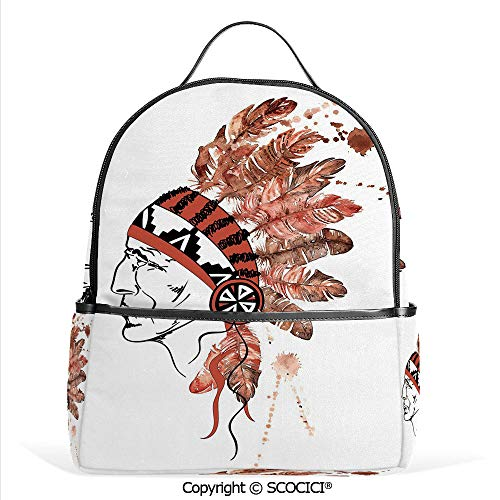 3D Printed Pattern Backpack Artistic Portrait Native American Tribe Chief with Traditional Headdress Decorative,Redwood Brown Black,Adorable Funny Personalized Graphics