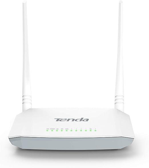 Tenda D301 Router Modem N300 inalámbrico WiFi (300 Mbps, 2 Antenas 5 dBi, a 2,4 GHz, USB 2.0, 4 Puertos WAN/LAN 10/100 Mbps, MIMO, WPS, IPTV)