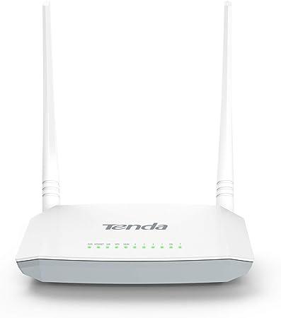 Tenda V300 Modem Router N300 inalámbrico WiFi (300 Mbps, 5 puertos WAN/LAN 10/100, USB 2.0, 2 antenas externas 5 dBi, protección rayos 6000 v, MIMO)