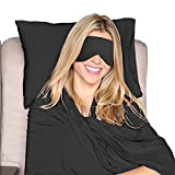 HappyLuxe Paris Luxury Travel Set, Travel Pillow, Shawl, and Sleep Mask. Great for Airplanes, Trains, Ships, Buses, or Any Other Journey. Travel in Comfort, Arrive in Style. Made in USA, Jet Black