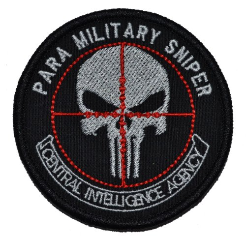 CIA Paramilitary Sniper Punisher Skull 3in Diameter Military Patch / Morale Patch - Black