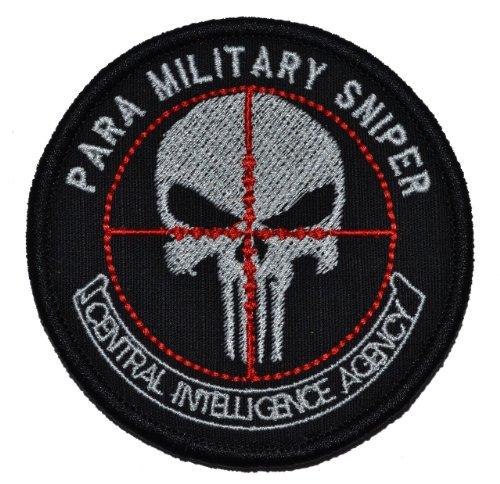 CIA Paramilitary Sniper Punisher Skull 3in Diameter Morale Patch - Black ()