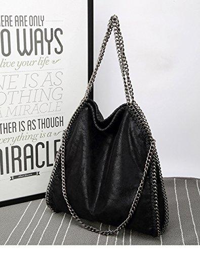 Mode Sacs Sysi Bag bandoulière Casual Noir Chaîne Femme à foncé Glitter Pu p66qRzY