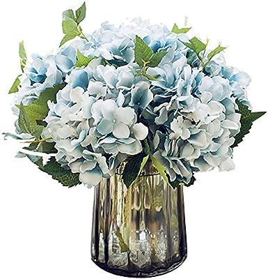 Felice Arts Artificial Silk Flowers California Fake Beautiful Hydrangea Bouquet Flower For Home Wedding Decor Pack Of 3 Blue Amazon Sg Home