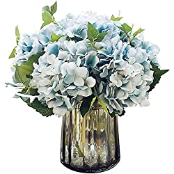 Felice Arts Artificial Silk Flowers California Fake Beautiful Hydrangea Bouquet Flower for Home Wedding Decor, Pack of 3 (Blue)