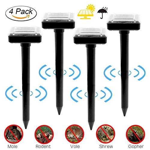 BANTER 4 Pack Solar Mole Repellent Voles Ultrasonic Solar Repellent, Sonic Rodent Repeller Deterrent Chaser Waterproof for Outdoor Lawn Garden Yards Pest Control (4 Pack) … (QQQ28) by BANTER