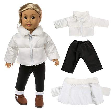 Traje de Invierno,2 Piezas Chaqueta Blanco + Pantalon Negro para 18 Pulgadas Americana Chica Muchacha Muñeca Gusspower