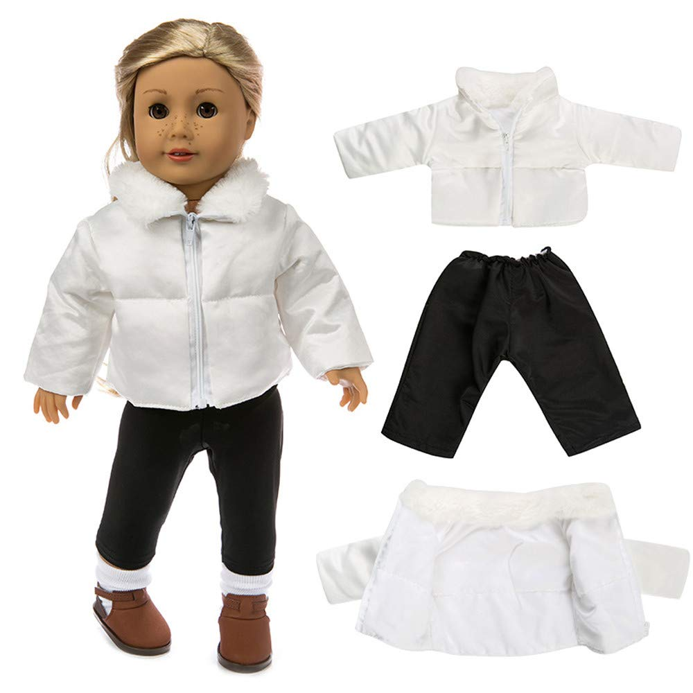 Wffo Cute Clothes Down Jacket for 18 Inch American Boy Doll Accessory Girl Toy (White and Black)