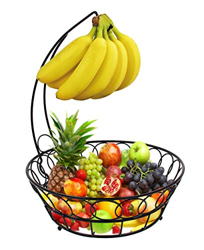ESYLIFE Wire Fruit Bowl with Banana Hanger Fruit Storage Basket, Black (Fruit Banana Tree Basket)