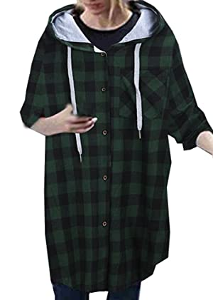 Womens Roll Up Long Sleeve Casual Loose Boyfriend Plaid Button Down Shirt Plus Size Coat Hoodies