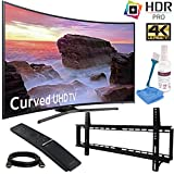 Samsung UN49MU6500FXZA Curved 49 4K Ultra HD Smart LED TV (2017 Model) with Low Profile Wall Mount Kit, 6 Foot HDMI Cable, and LCD Screen Cleaning Kit Bundle