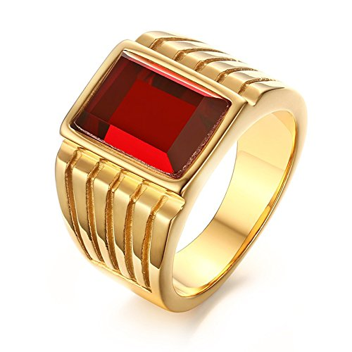 VNOX Stainless Steel Square Red Rhinestone Solitaire Ring for Men Wedding Band Engagement Size 10 (Stainless Steel Square Ring)