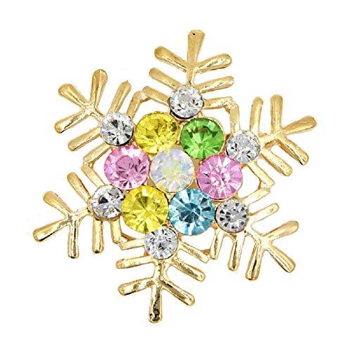 (YOUYUZU Gold Christmas Winter Snowflake Brooches and Pins Austrian Crystal Rhinestone Brooch)