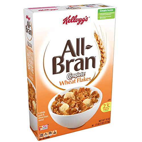 (Kellogg's All-Bran Complete Wheat Flakes, Breakfast Cereal, Excellent Source of Fiber, 18 oz Box(Pack of 2))