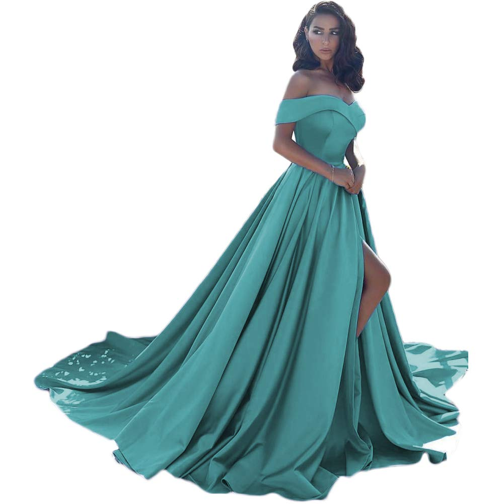 Turquoise LiBridal Women's Off The Shoulder Front Split Formal Evening Dress Long Sexy Prom Party Dress