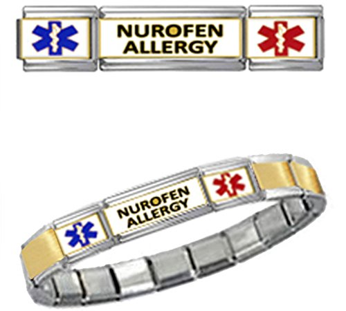 nurofen-allergy-medical-id-9mm-italian-charm-gold-tone-center-matte-brushed-starter-bracelet