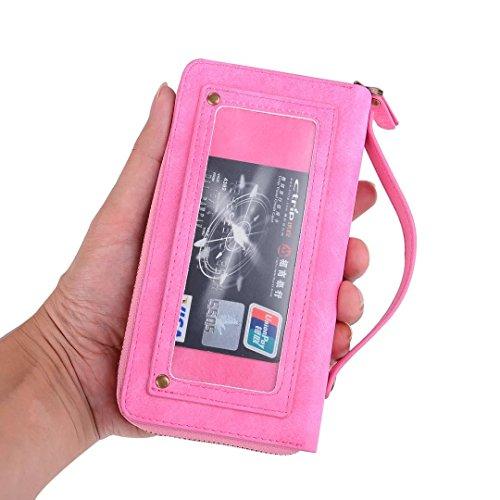 iPhone 7 Plus Wallet case ,Aroko Premium Zipper Wallet Le...