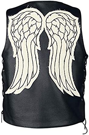 THE WALKING DEAD GOVERNOR DARYL DIXON ANGEL WINGS REAL LEATHER VEST JACKET