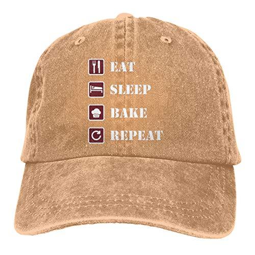 Yuliang Eat Sleep Bake Repeat Geek Unisex Adult Adjustable Snapback Cowboy Hat Natural