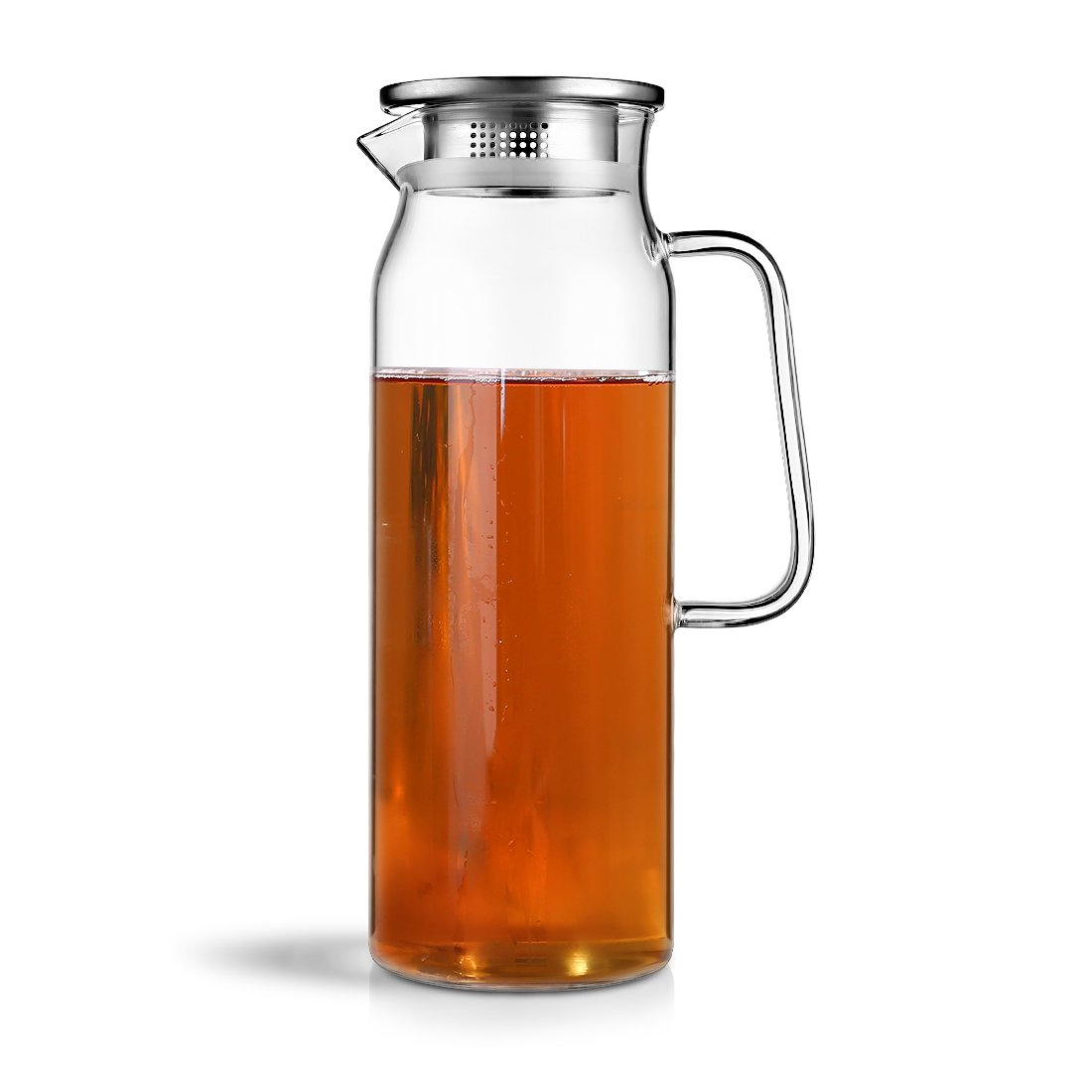 HOLD U FUN 1.7L Glass Water Carafe Pitcher with Stainless Steel Lid, Hot and Cold Water Jar/Carafe for Water,ice tea Juice container,fridge pitcher with handle(1700ML)