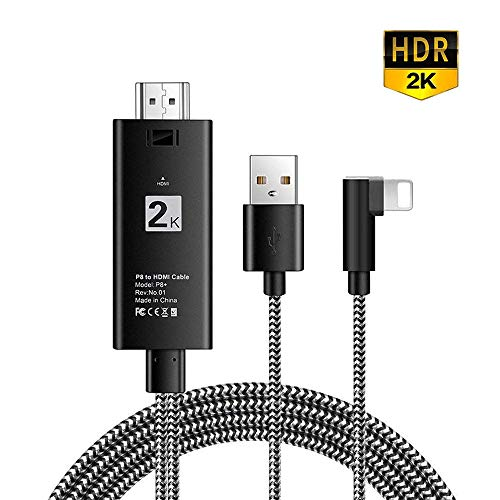(Hoidokly Phone to HDMI Cable 6.6ft Plug and Play HDMI Connector HDTV 1080P Mirror on Home Theater/Projector/TV, Compatible Phone X /8/7 /6/5 Series, Pad Air/Mini/Pro, Pod Touch)