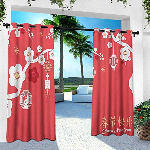 leinuoyi Chinese New Year, Outdoor Curtain Panels Set of 2, Various Lanterns Hanging from Blossoming Sakura Branches, Outdoor Patio Curtains W96 x L96 Inch Dark Coral White Pale ()