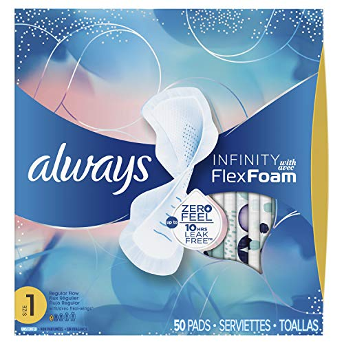 Always Infinity Size 1 Feminine Pads with Wings, Regular Absorbency, Unscented, 50 Count (Packaging May Vary) ()