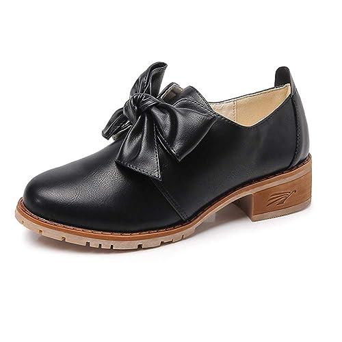 Huatime Temperamento El Trabajo Zapatos Mujer - Mocasín Pisos Cuero Oxfords Acento irlandés Confortable Oficina Tacon bajo Zapato Mocasines: Amazon.es: ...