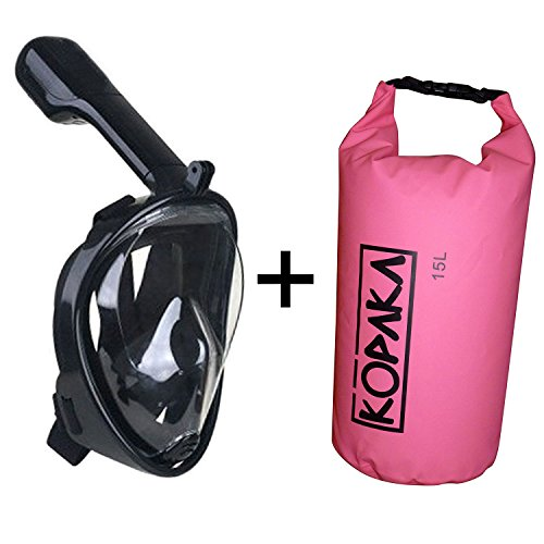 Full Face Snorkel Mask and Kopaka Waterproof Dry Bag, GoPro Compatible Multiple Sizes and Colors Available (Black Mask + Pink Bag, (Camo Hockey Mask)