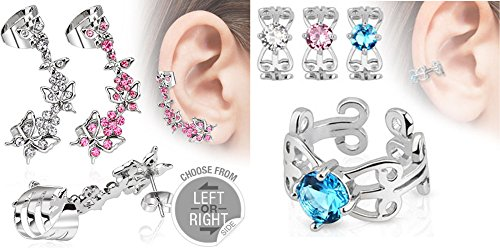 2 Pack Ear Cartilage Dangle Butterfly Earring AND Pink Blue or Clear Gem Cuffs 316L Surgical Steel (Left Earlobe Dangle + Cuff) (RIGHT Clear Dangle + Clear Cuff)