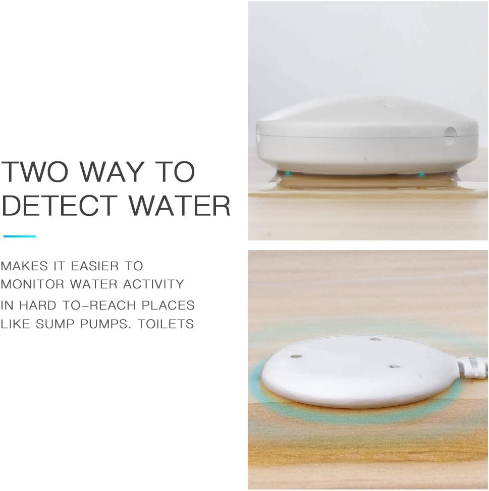 Smart WiFi Water Sensor,Built in Battery,Smart Flood Detector with Remote Probe Water Resistant