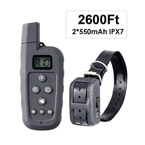 HASGIA Dog Training Collar, Waterproof Rechargeable 2600 ft Remote Dog Shock Collar with Light Beep Vibration Shock for Medium Large Dogs