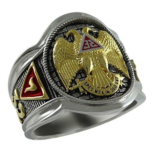 Scottish Rite 32 Degree Masonic Knights Templar Sterling Silver 18k Gold Plated Freemasonry Signet Ring KTR005 (8.5) Scottish Rite Symbols