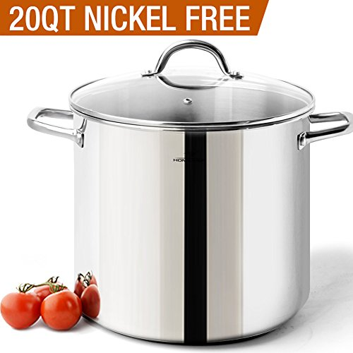 HOMi CHEf Commercial Grade Stainless Steel Stock Pot 20 Quart With Lid/Nickel Freee Stainless Steel Non Toxic Cookware Stockpot 20 Quart/Large Heavy Duty Stock Pots For Cooking by Homichef