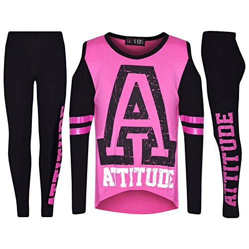 Girls Top Kids Attitude Print Trendy Top & Fashion Legging Set Age 7-13 (Trendy Fashion Top)