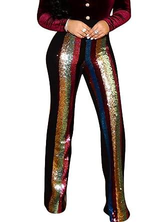 cf46c4219bd7f Bluewolfsea Women s Glitter Striped Sequin High Waist Wide Leg Long Bell  Bottom Pants Flare Trousers Small