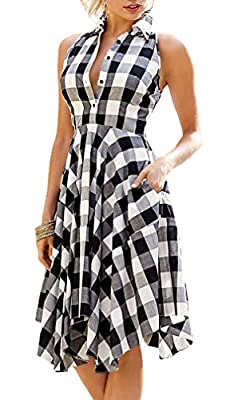 Roswear Women's Plaid Sleeveless Denim Checked Flared Shirt Dress with Pockets