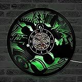 LNHYX Creative Hollow Instrumentos de Música Cd Record Reloj Antiguo Hecho A Mano Led Vinilo Reloj de Pared Clásico Y Moda Decoración Del Hogar
