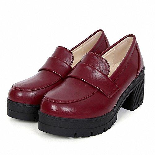 Uniform Dress Red Mewow Cosplay Students Costume Lolita Mid Heel Women's Shoes Girl's x6x0Pw8