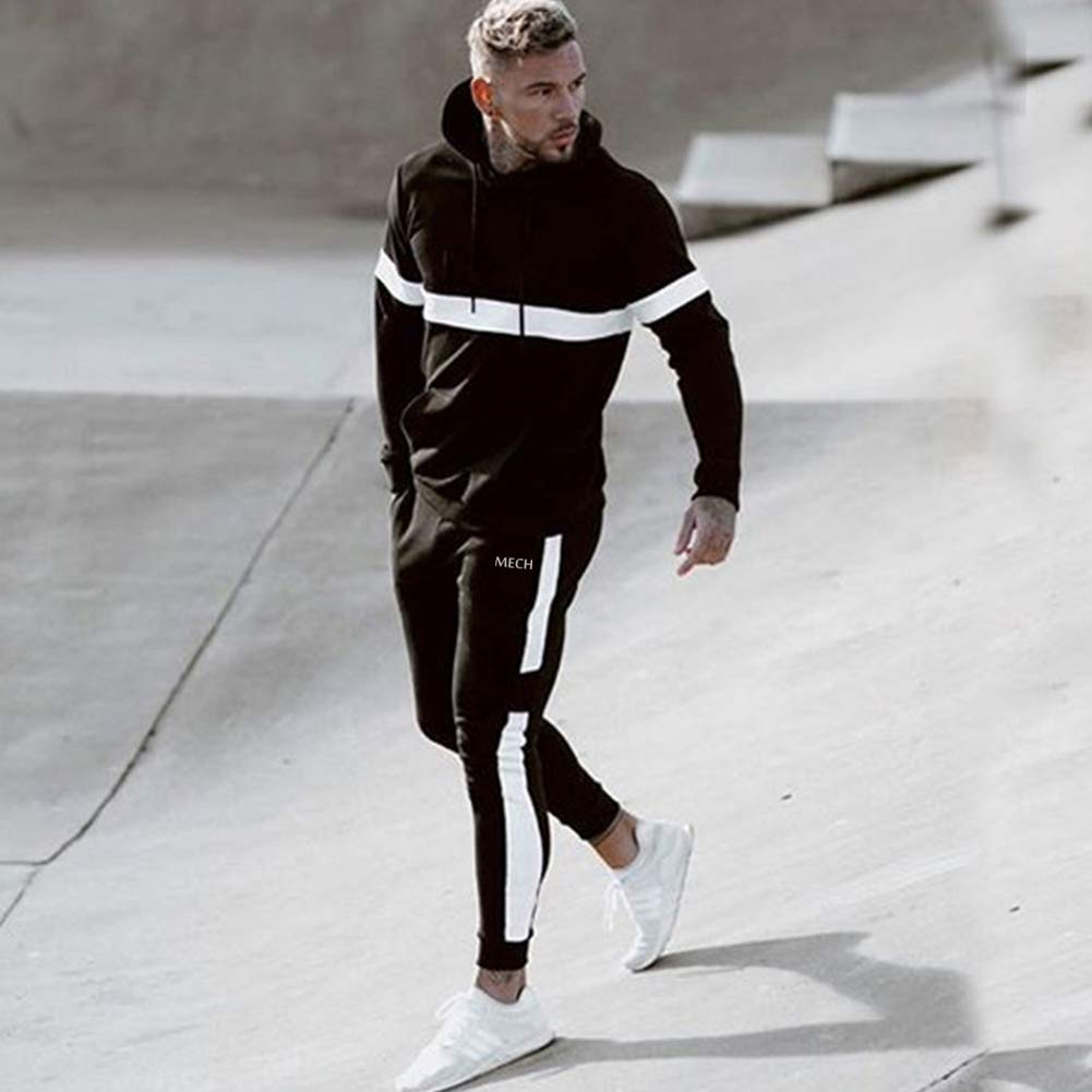 MECH-ENG Mens Gym Stripe Jogger Pants Workout Fitness Sweatpants with Pockets