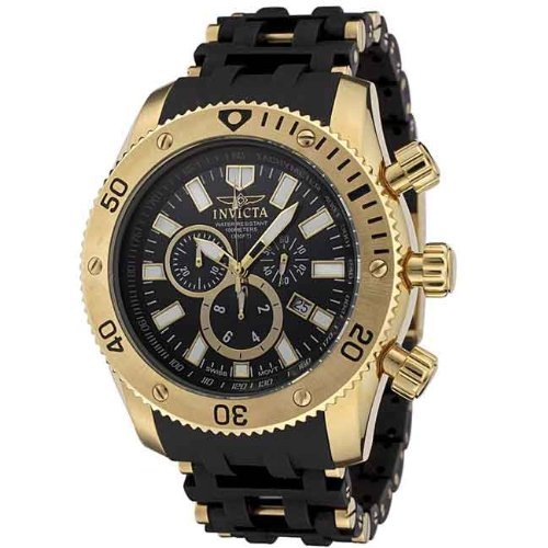 Invicta Men's 0140 Sea Spider Collection 18k Gold Ion-Plated and Black Polyurethane Watch by Invicta