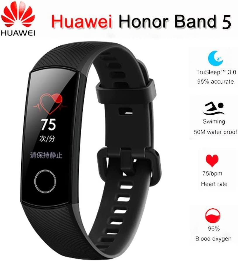 "Huawei Honor Band 5 0.95"" Full Touch AMOLED Color Screen Smart Bracelet Heart Rate Monitor Sleep Monitor Blood Oxygen Monitor Home Button All-in-One Activity Tracker GPS 5ATM Waterproof"
