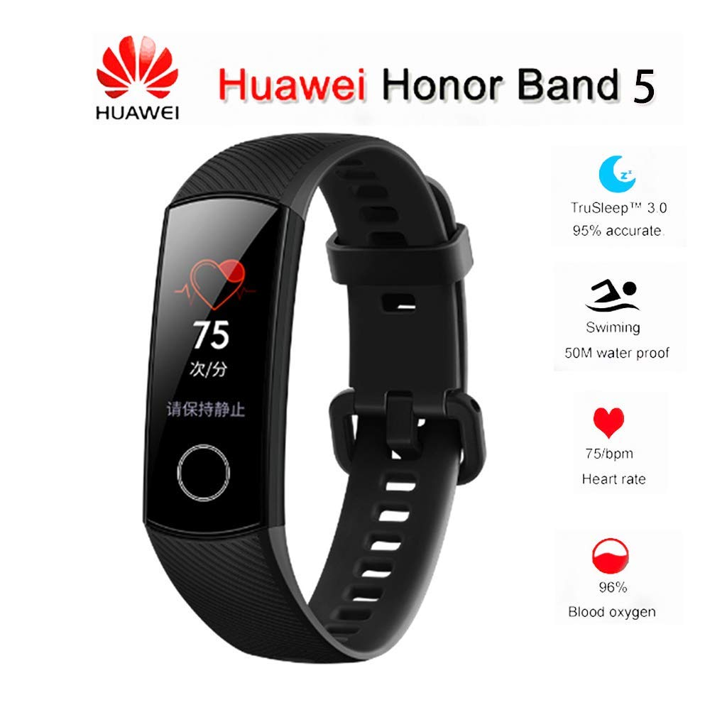 Huawei Honor Band 5 0.95 Full Touch AMOLED Color Screen Smart Bracelet Heart Rate Monitor Sleep Monitor Blood Oxygen Monitor Home Button All-in-One Activity Tracker GPS 5ATM Waterproof