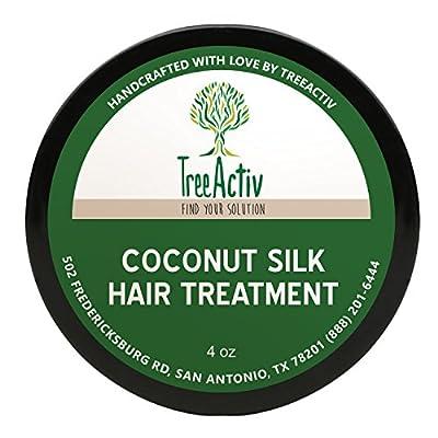 TreeActiv Coconut Silk Hair Treatment (4 oz) | Natural Deep Conditioner | Revitalize Dry Damaged Fibers | Men, Women, Teens | Encourage Growth | Keratin | Vitamin B5 | Silk Aminos | Kukui Nut Oil