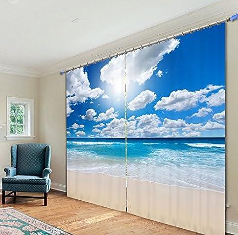 Waple Cielo Blu E Nuvole Bianche/Mare/Spiaggia Sabbiosa Tende 3D Stampa Foto Tende Per La Finestra Soggiorno Camera Letti Hote Office 240X260CM