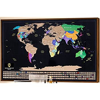 Amazon scratch off map by tirotechs new scratch off world map world trekker xl scratch off map poster track your travels us states outlined with country flags detailed and colorful 34 x 21 gumiabroncs Images