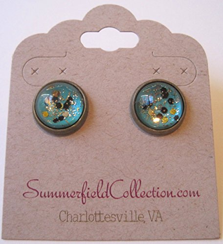 [Antiqued Gold-tone Mint Green and Black Glitter Glass Stud Earrings Hand-painted 12mm] (Simple Cheer Dance Costumes)